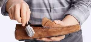 πως καθαρίζω τα καστόρινα παπούτσια χρησιμοποιώντας προϊόντα από το Doyens